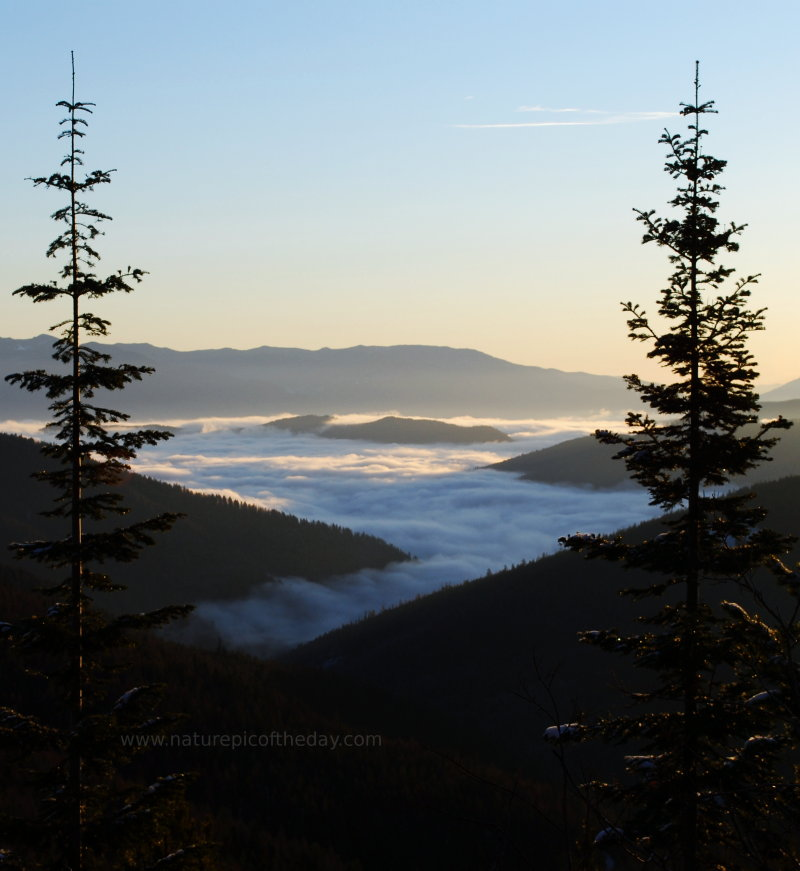 Outdoor Photography.  Fog covered valley.