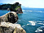 Ocean picture of rocks on the Izu Peninsula in Japan.