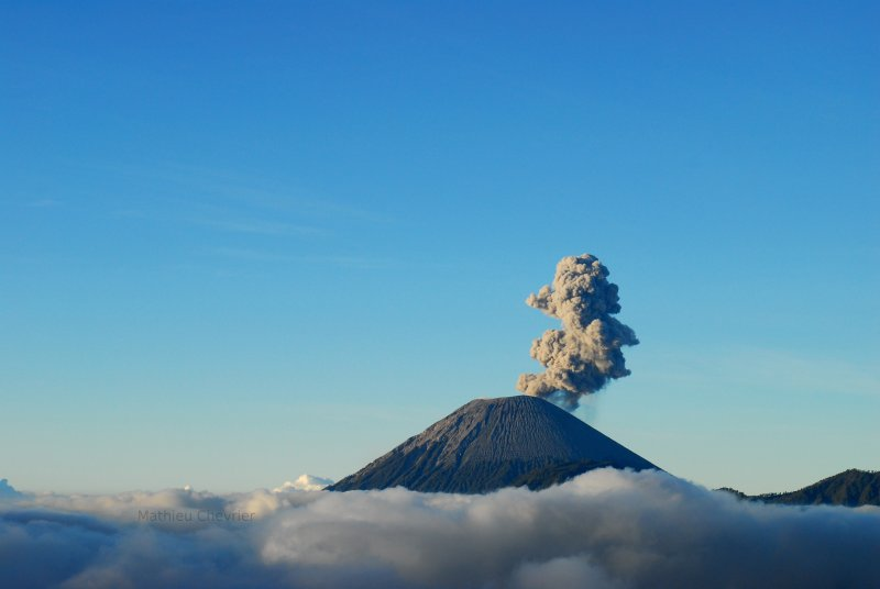 Photograph of Mount Semeru on Java in Indonesia.