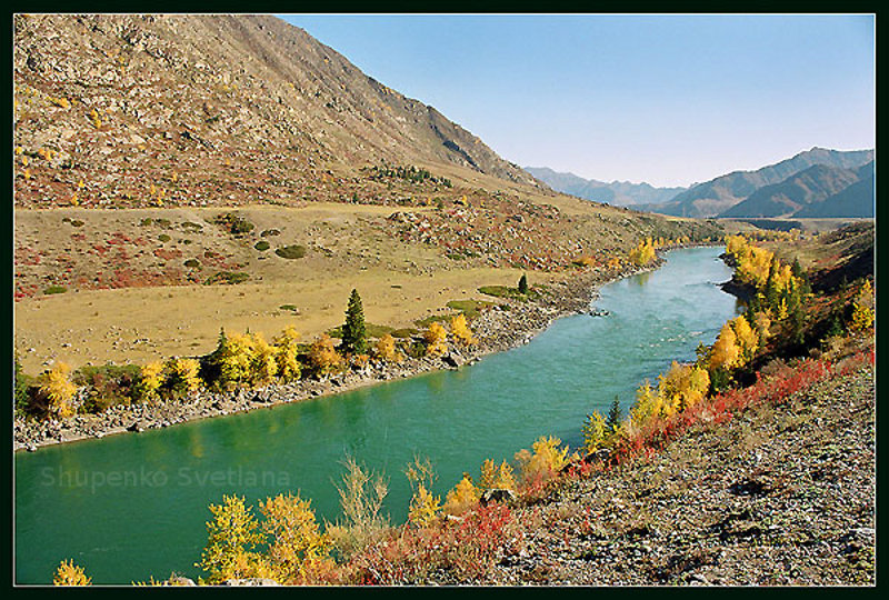 Beautiful river with fall trees.  Nature picture.