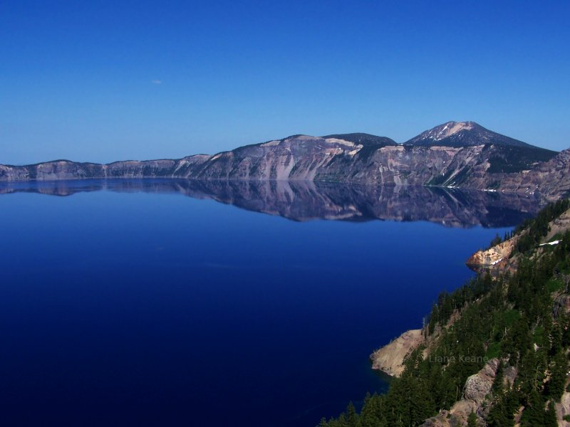 Blue Crater Lake Photography.  Professional DSLR Camera.