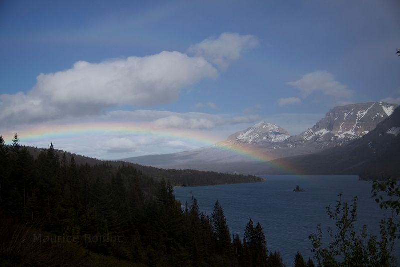 Rainbow in Glacier National Park.