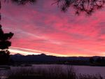 Pink sunrise over Village Lake in Pagosa Springs, CO