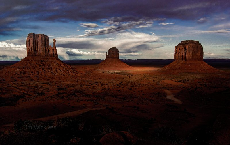 Dramatic Clouds and lighting at Monument Valley