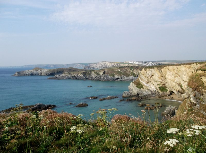 Cliffs and bay near Newquay, Cornwall, England