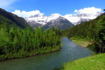 Glaciers, forest, and river in Montana