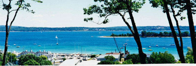 Busy bay in the summer in Harbor Springs, MI