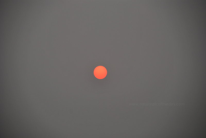 Sun through hazy smoke