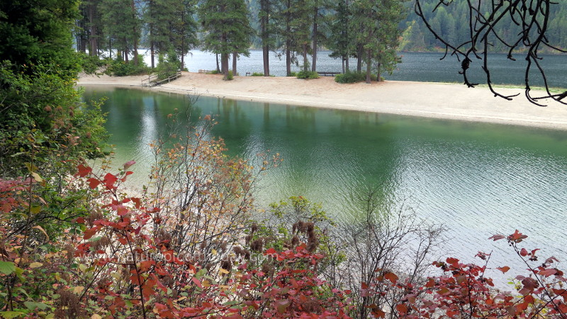 Green water and red leaves in Idaho
