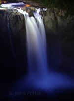 Snoqaulmie falls at night.  Snoqualmie, Washington.