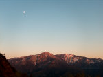 Moon Rise and Sunset over Sequoia National Park in California